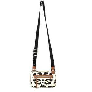 L.A.M.B. Cream/Black/Cognac Leather Crossbody Bag